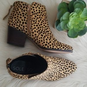 SoleSociety Calf hair animal print ankle booties 7